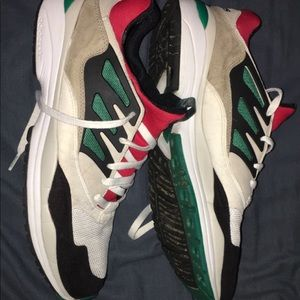 adidas running shoes white green black red colors